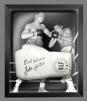 John Conteh Signed White Vip Boxing Glove Presented In A Dome Frame : C