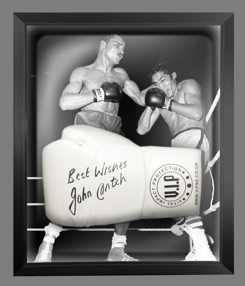 John Conte Signed White Vip Boxing Glove Presented In A Dome Frame : C