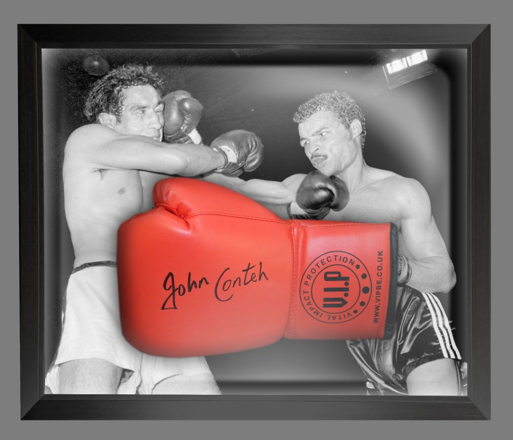 John Conte Signed Red Vip Boxing Glove Presented In A Dome Frame : A