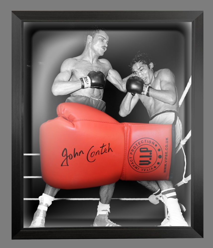 John Conte Signed Red Vip Boxing Glove Presented In A Dome Frame : B