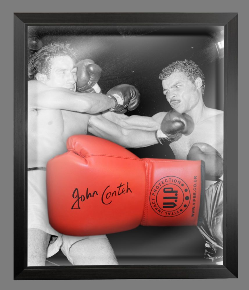 John Conte Signed Red Vip Boxing Glove Presented In A Dome Frame : C
