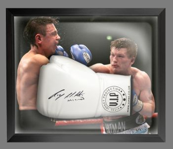 Ricky Hatton Signed White Vip Boxing Glove Presented In A Dome Frame : A
