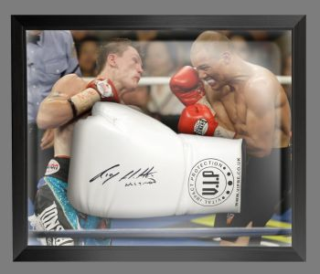 Ricky Hatton Signed White Vip Boxing Glove Presented In A Dome Frame : B