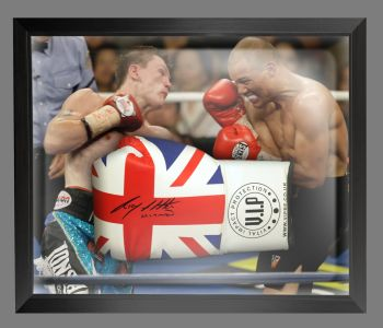 Ricky Hatton Signed Union Jack Vip Boxing Glove Presented In A Dome Frame : A