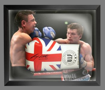 Ricky Hatton Signed Union Jack Vip Boxing Glove Presented In A Dome Frame : B