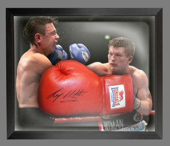 Ricky Hatton Signed Red Lonsdale Autograph Boxing Glove Presented In A Dome Frame : A