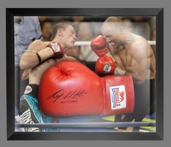 Ricky Hatton Signed Red Lonsdale Autograph Boxing Glove Presented In A Dome Frame : B