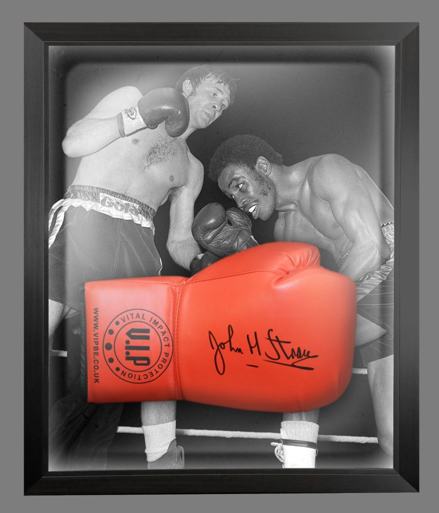 John H Stracey Signed Red VIP Boxing Glove Presented In A Dome Frame : A