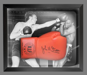 John H Stracey Signed Red VIP Boxing Glove Presented In A Dome Frame : B