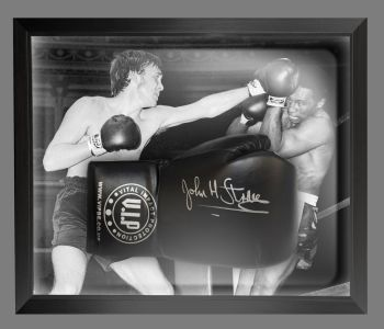 John H Stracey Signed Black VIP Boxing Glove Presented In A Dome Frame : A