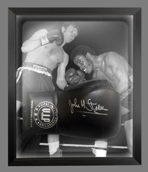John H Stracey Signed Black VIP Boxing Glove Presented In A Dome Frame : B