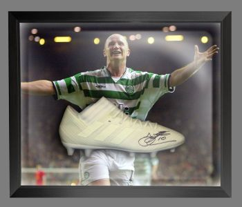 John Hartson Signed Football Adidas Boot In An Acrylic Dome Frame : A