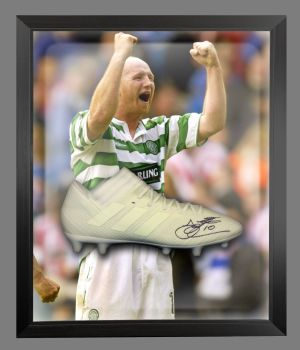 John Hartson Signed Football Adidas Boot In An Acrylic Dome Frame : B