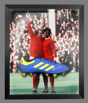 Denis Law Signed Adidas Football Boot in an Acrylic Dome : A