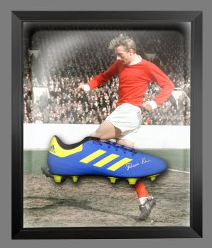 Denis Law Signed Adidas Football Boot in an Acrylic Dome : B