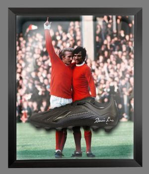 Denis Law Signed Black Football Boot in an Acrylic Dome : A