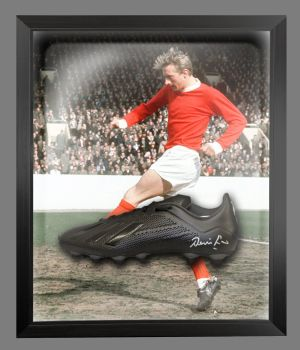 Denis Law Signed Black Football Boot in an Acrylic Dome : B