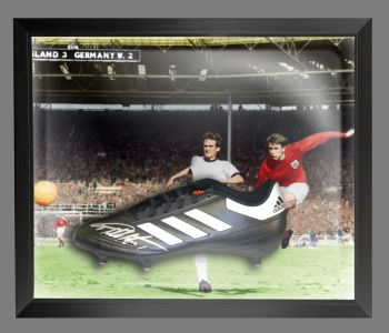 Geoff Hurst Signed Adidas Football Boot in an Acrylic Dome