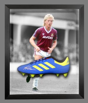 Frank McAvennie Signed Adidas Football Boot in an Acrylic Dome : A