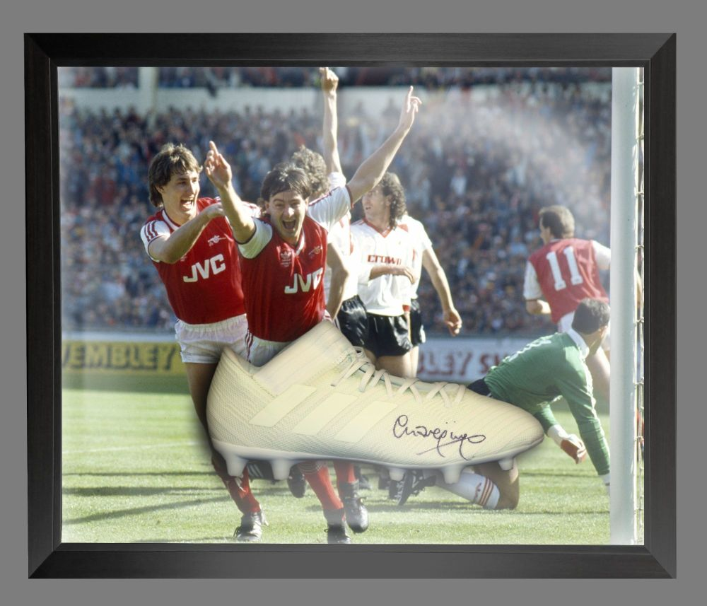 Charlie Nicholas Signed Adidas Football Boot in an Acrylic Dome : B