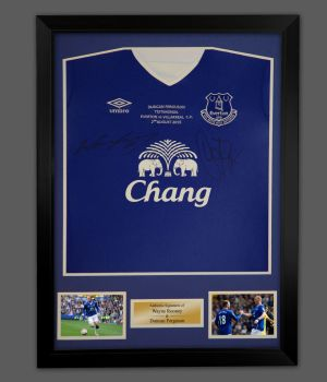 Duncan Ferguson And Wayne Rooney Dual Signed Everton Football Shirt