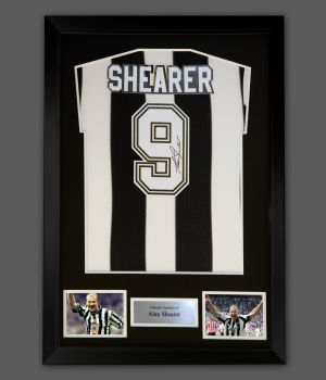 Alan Shearer Hand Signed And Framed Newcastle Football Shirt