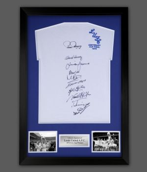 Leeds 1972 Replica Football Shirt Signed By 10 In A Framed Presentation