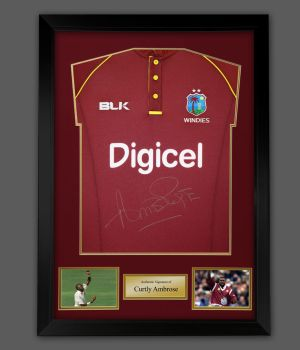 Curtly Ambrose Hand Signed And Framed Cricket Shirt : A