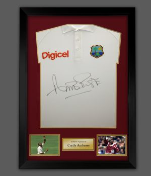 Curtly Ambrose Hand Signed And Framed Cricket Shirt : C