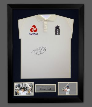 Alastair Cook Hand Signed Cricket England Shirt In A Frame Presentation: A