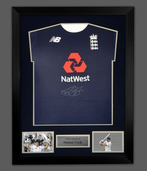 Alastair Cook Hand Signed Cricket England Shirt In A Frame Presentation: B
