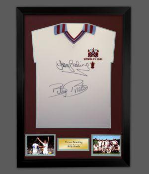 Trevor Brooking And Billy Bonds Duel Signed And Framed West ham United 1980 Football Shirt