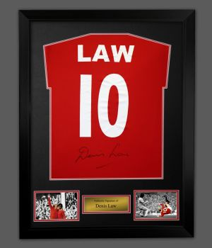 Denis Law Signed  Manchester United Football Shirt In A Framed Presentation