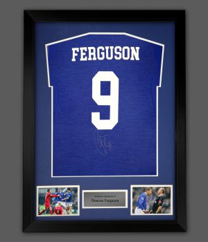 Duncan Ferguson  Signed Everton Football Shirt In A Framed Presentation