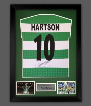 John Hartson Signed Celtic Football Shirt In A Framed Presentation