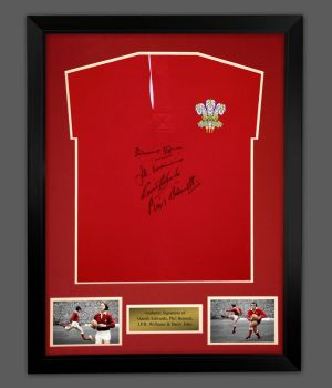 Williams, Edwards, Bennett and John Hand Signed Wales Rugby Shirt In A Frame