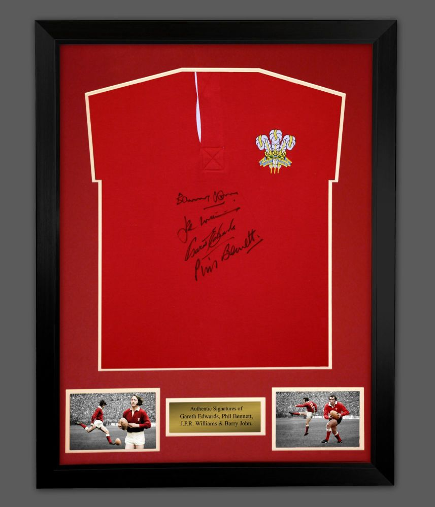 Williams, Edwards, Bennett and John Hand Signed Wales Rugby Shirt In A Fram