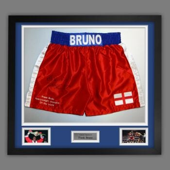Frank Bruno Hand Signed And Framed Custom Made Boxing Trunks : C