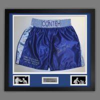 John Conteh Hand Signed And Framed Custom Made Boxing Trunks