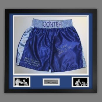 John Conteh Hand Signed And Framed Custom Made Boxing Trunks