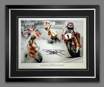 Carl Fogarty Signed And Framed 12x16 Motor Bike Racing Photograph