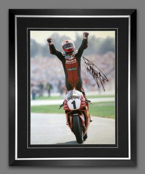 Carl Fogarty Signed And Framed 12x16 Motor Bike Racing Photograph:  B