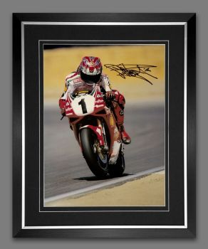 Carl Fogarty Signed And Framed 12x16 Motor Bike Racing Photograph: A