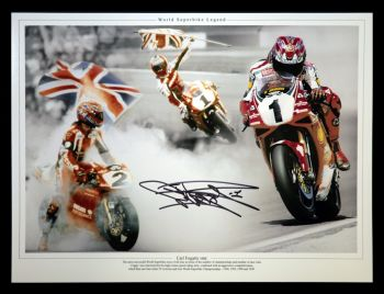 Carl Fogarty Ducati Signed 12x16 Montage