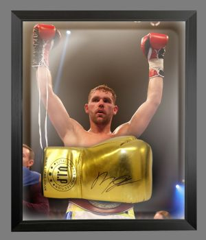 Billy Joe Saunders Signed Gold Vip Boxing Glove Presented In A Dome Frame: A