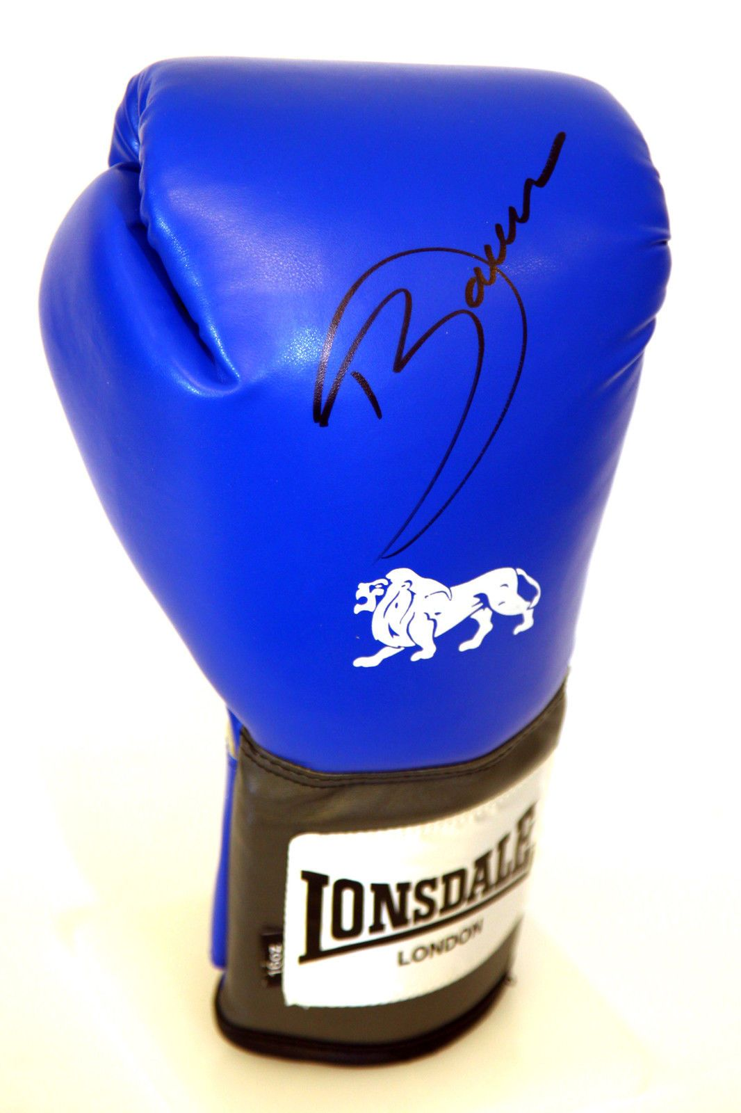 Darren Barker Hand Signed Blue Portrait Lonsdale Boxing Glove. Black Pen