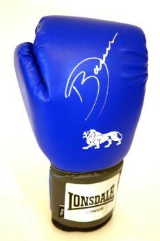 Darren Barker Hand Signed Blue Portrait Lonsdale Boxing Glove. Silver Pen