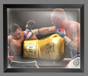 George Groves Signed Gold VIP Boxing Glove Presented In A Dome Frame