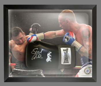 George Groves Signed Black Boxing Glove Presented In A Dome Frame