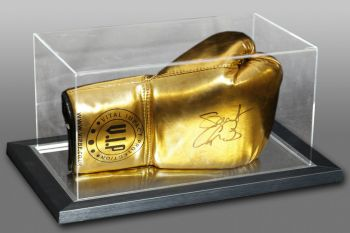George Groves Signed Gold VIP Boxing Glove In An Acrylic Case